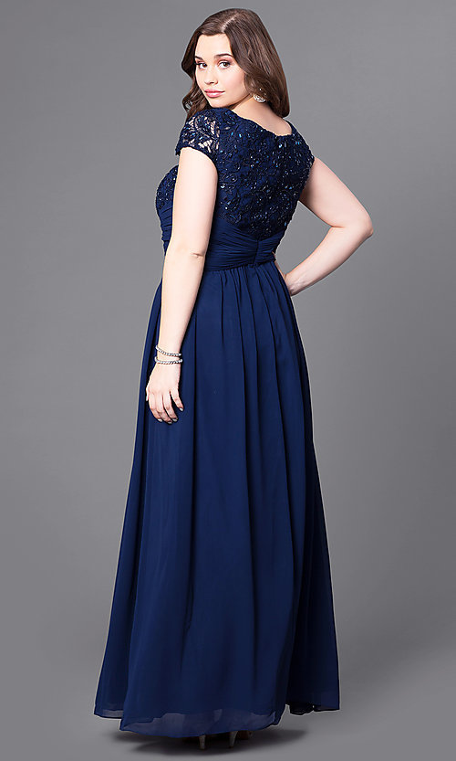 Long Plus-Size Lace-Bodice Formal Evening Dress