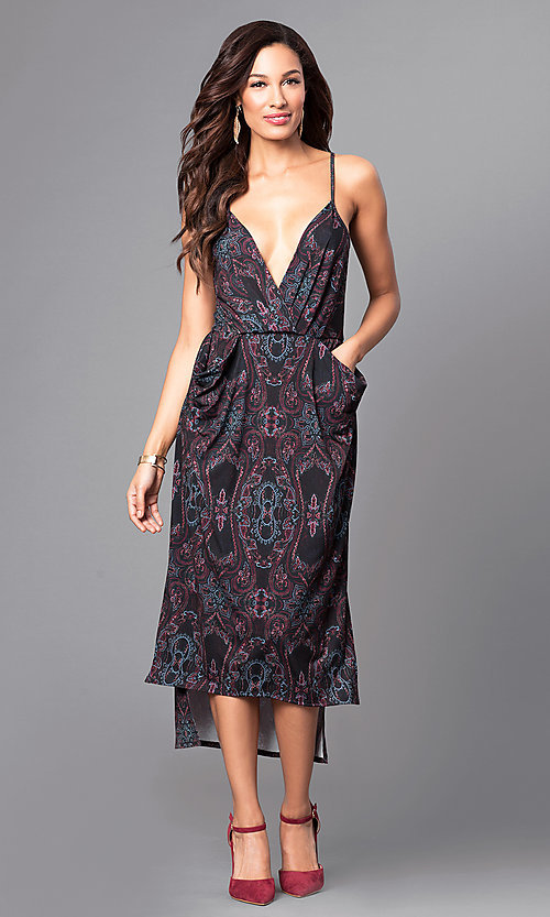 Image of sleeveless v-neck print high-low party dress. Style: BC-ELJ69E63 Front Image