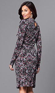Image of long-sleeve short party dress in plum purple print. Style: BC-DUA64K84 Back Image