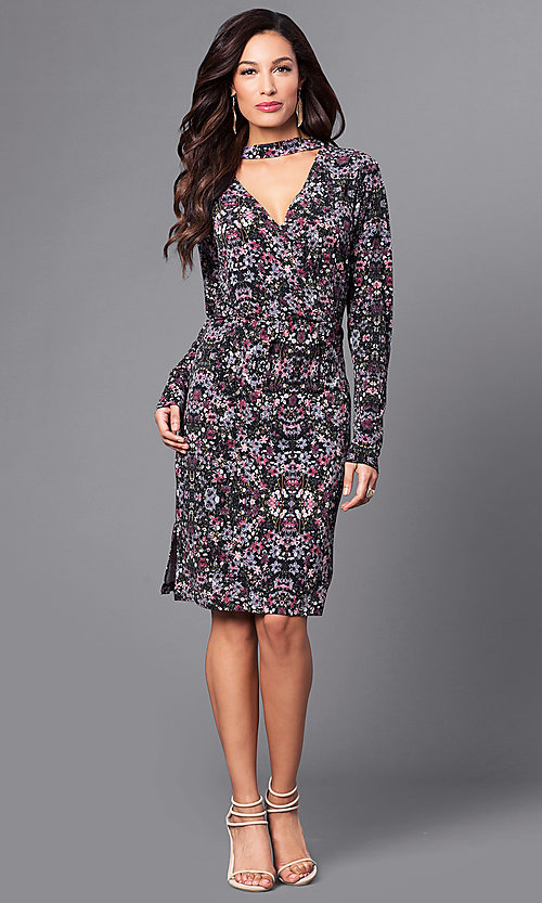 Image of long-sleeve short party dress in plum purple print. Style: BC-DUA64K84 Detail Image 1