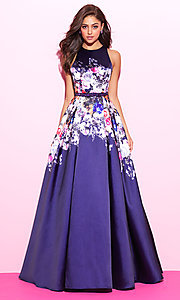 Image of floral-print navy blue long prom dress. Style: NM-17-299 Front Image