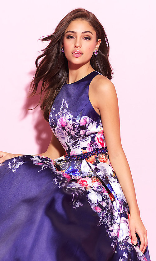 Image of floral-print navy blue long prom dress. Style: NM-17-299 Detail Image 1