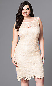 Image of open-lace plus-size party dress in knee-length Style: DQ-8842P Front Image