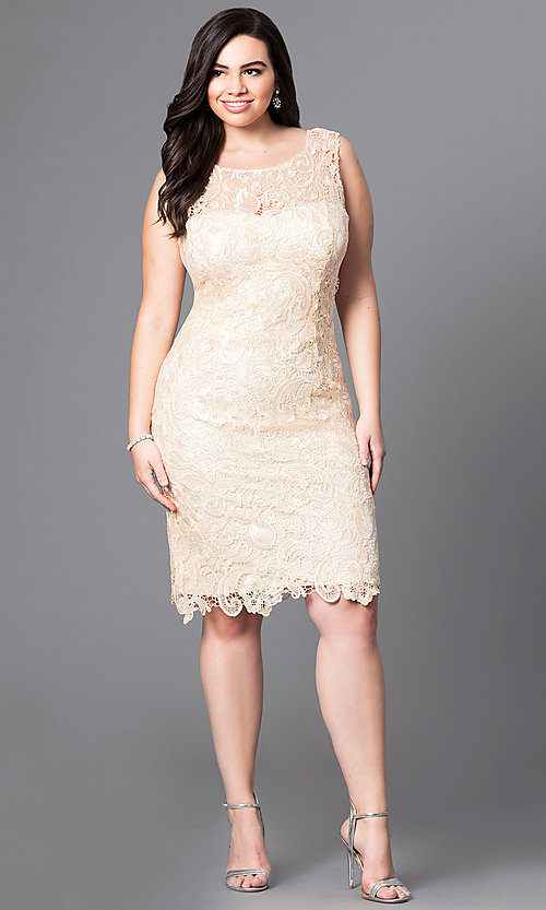 Image of open-lace plus-size party dress in knee-length Style: DQ-8842P Detail Image 1
