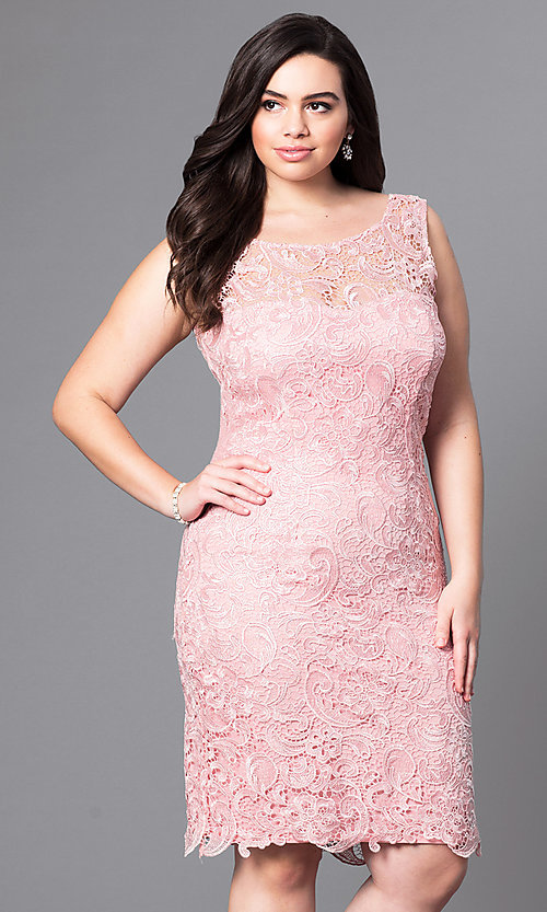 Image of open-lace plus-size party dress in knee-length Style: DQ-8842P Detail Image 2
