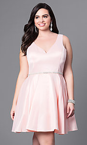 Image of plus-size v-neck party dress with short satin skirt. Style: DQ-9504P Front Image