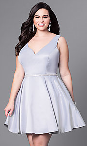 Image of plus-size v-neck party dress with short satin skirt. Style: DQ-9504P Detail Image 1