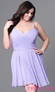 Image of corset sweetheart short plus-size dress with ruching. Style: DQ-9472P Front Image