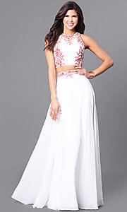 Image of long two-piece lace-applique prom dress in off white. Style: DQ-9911 Front Image
