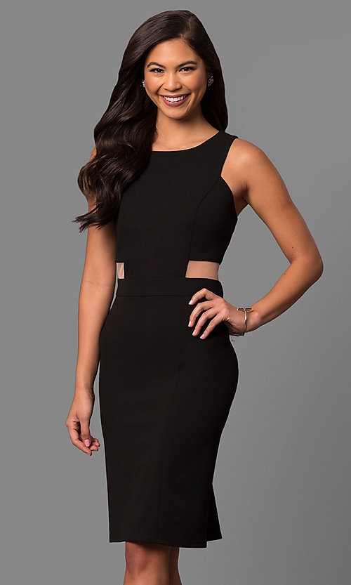 Short Knee-Length Black Party Dress with Side Cut Outs