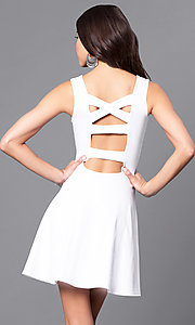 Image of sleeveless short white party dress with back cut outs. Style: CH-2420-W Front Image