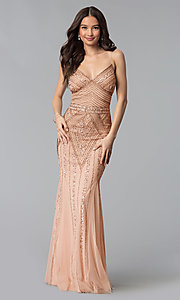 Image of long sequin-embellished prom dress with empire waist. Style: JU-MA-263312 Detail Image 1