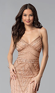 Image of long sequin-embellished prom dress with empire waist. Style: JU-MA-263312 Detail Image 2