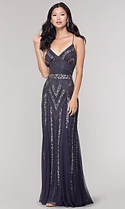 Image of long sequin-embellished prom dress with empire waist. Style: JU-MA-263312 Detail Image 4
