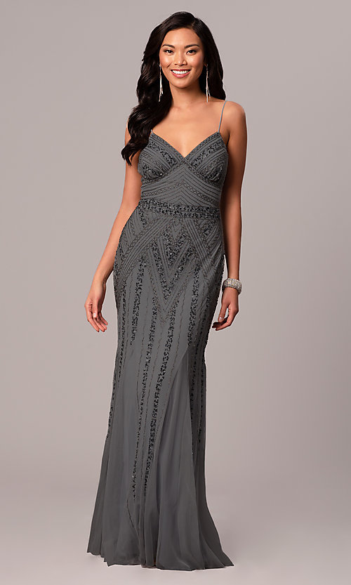 Image of long sequin-embellished prom dress with empire waist. Style: JU-MA-263312 Detail Image 6