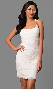 Image of empire-waist short ivory tiered lace party dress. Style: JU-MA-263373 Front Image