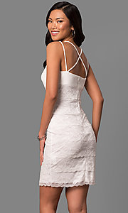Image of empire-waist short ivory tiered lace party dress. Style: JU-MA-263373 Back Image