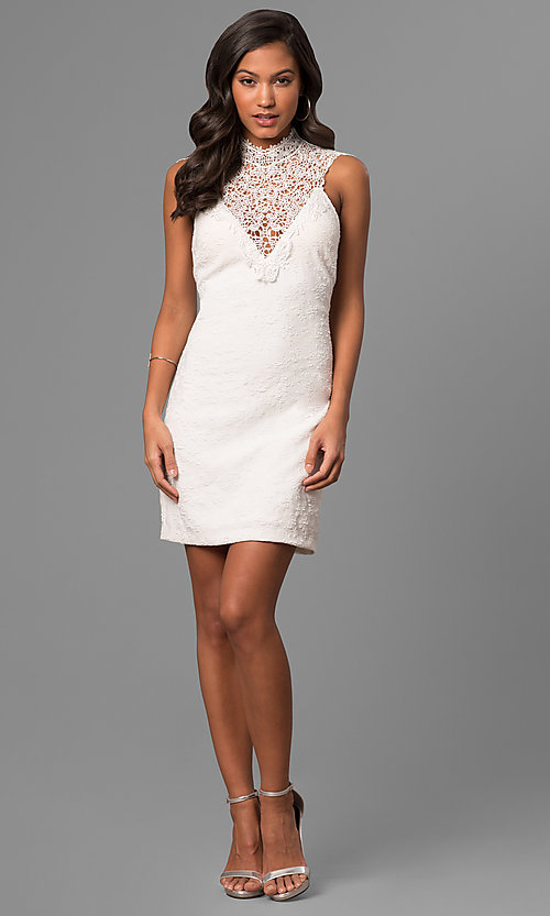 Image of junior-size white party dress with illusion v-neck. Style: DMO-J316337 Detail Image 1