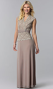 Image of long mother-of-the-bride dress with lace bodice. Style: JU-ON-648974 Detail Image 3