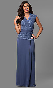 Image of long mother-of-the-bride dress with lace bodice. Style: JU-ON-648974 Front Image