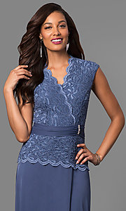 Image of long mother-of-the-bride dress with lace bodice. Style: JU-ON-648974 Detail Image 1