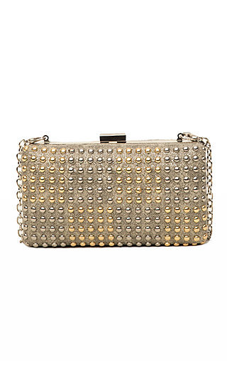Gold Checherboard Beaded Print Clutch
