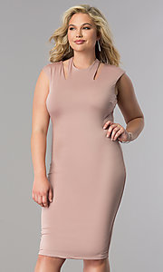Image of short fitted knee-length plus-size party dress. Style: SY-IXD4212HP Front Image