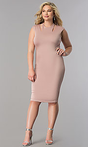 Image of short fitted knee-length plus-size party dress. Style: SY-IXD4212HP Detail Image 1