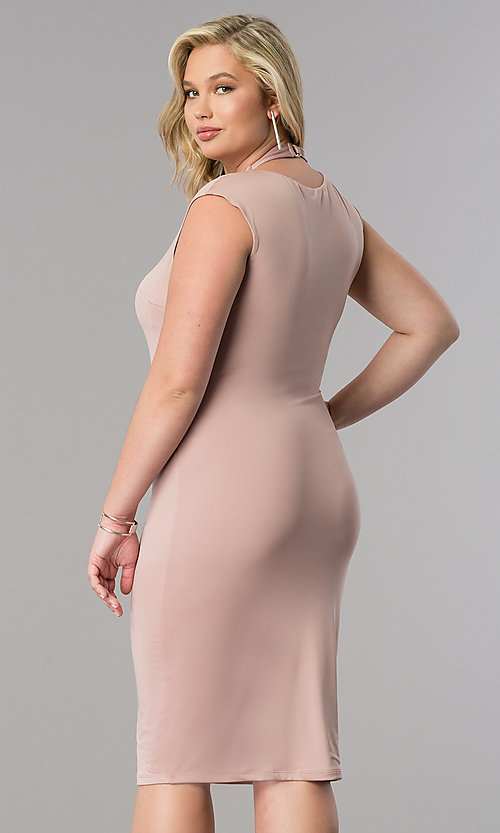 Image of short fitted knee-length plus-size party dress. Style: SY-IXD4212HP Back Image
