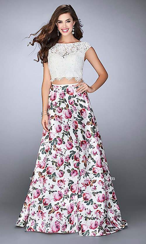 Two-Piece Lace and Print Prom Dress