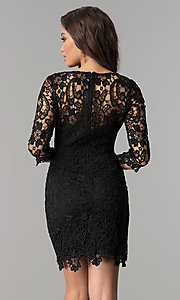 Image of short v-neck homecoming dress with 3/4 sleeves. Style: LP-27048 Back Image