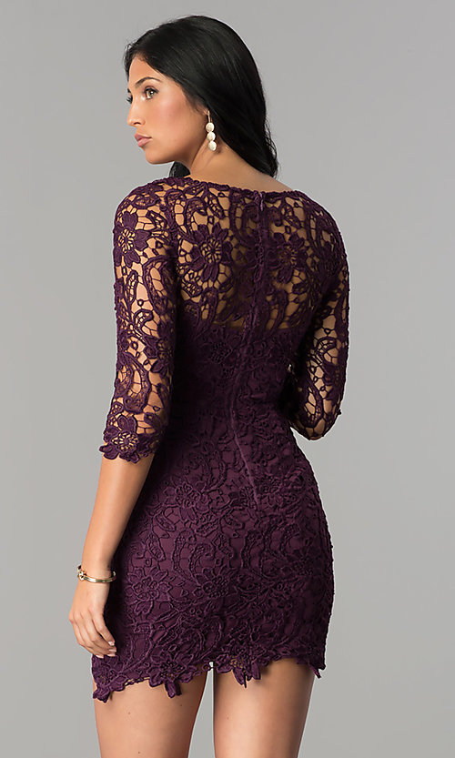 Image of short v-neck homecoming dress with 3/4 sleeves. Style: LP-27048 Detail Image 2