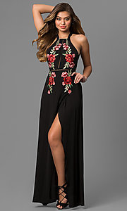 Image of embroidered black maxi party dress with high neck. Style: LUX-LD3681 Front Image