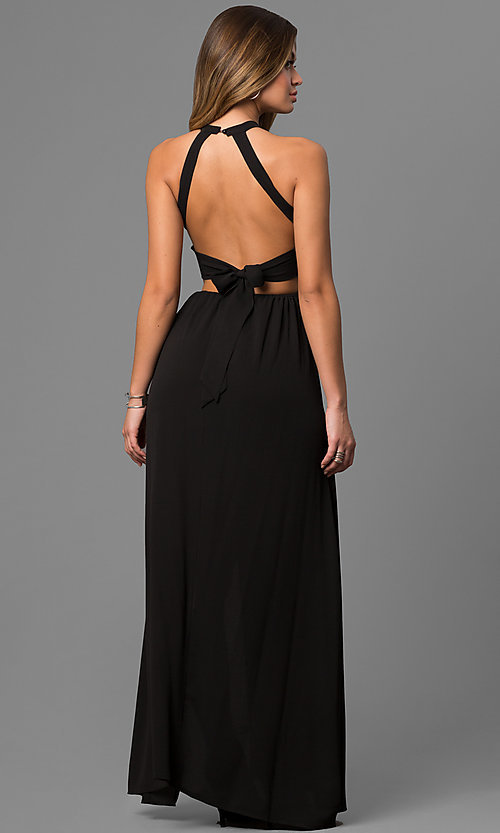 Image of embroidered black maxi party dress with high neck. Style: LUX-LD3681 Back Image