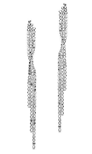 Cascading Silver Rhodium Earrings with Crystal