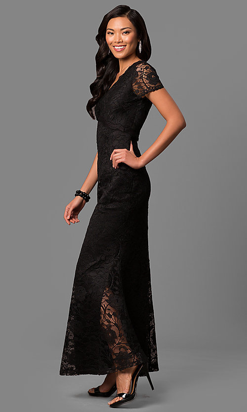 Image of lace long mother-of-the-bride dress with sleeves. Style: ET-ESHMP273 Detail Image 1