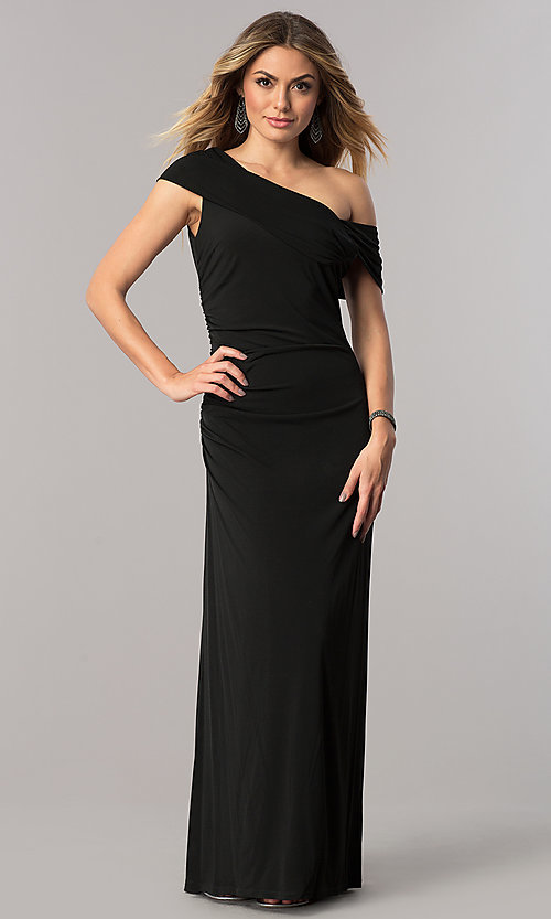 Image of mother-of-the-bride dress with asymmetrical neckline. Style: ET-ESJMJ826 Front Image