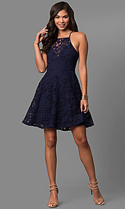 Image of affordable short a-line lace homecoming party dress.  Style: LP-27005 Detail Image 1