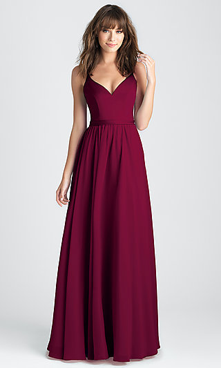 Classic A-Line Long Prom Dress in Burgundy Red