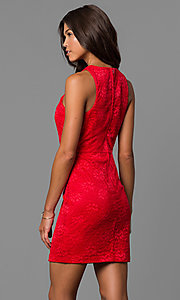 Image of short red lace sheath party dress with illusion inset. Style: CT-3372XA3B Back Image