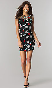 Image of black party dress with blue and red floral embroidery. Style: EM-FiD-3203-034 Detail Image 1