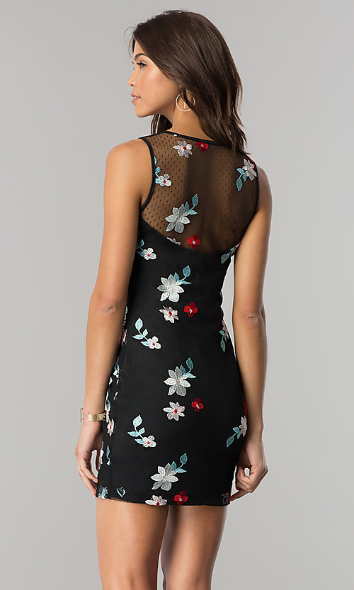 Image of black party dress with blue and red floral embroidery. Style: EM-FiD-3203-034 Back Image