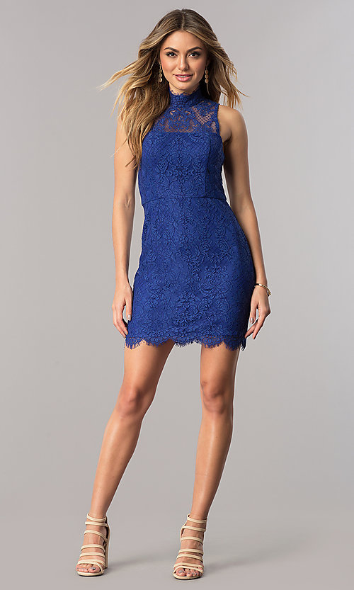 Image of short royal blue lace junior-size homecoming dress. Style: DMO-J317467 Detail Image 1