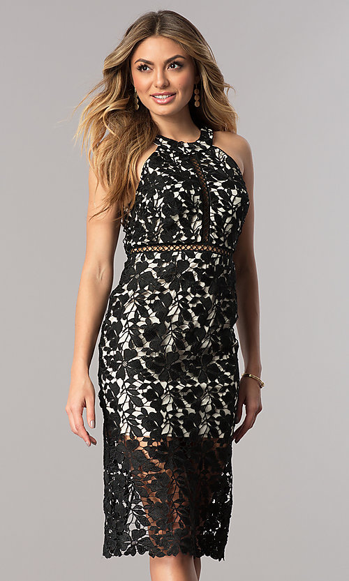 Image of short black lace party dress with nude lining. Style: DMO-J316087 Front Image
