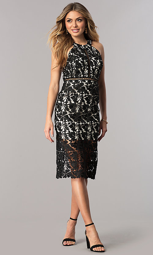 Image of short black lace party dress with nude lining. Style: DMO-J316087 Detail Image 1