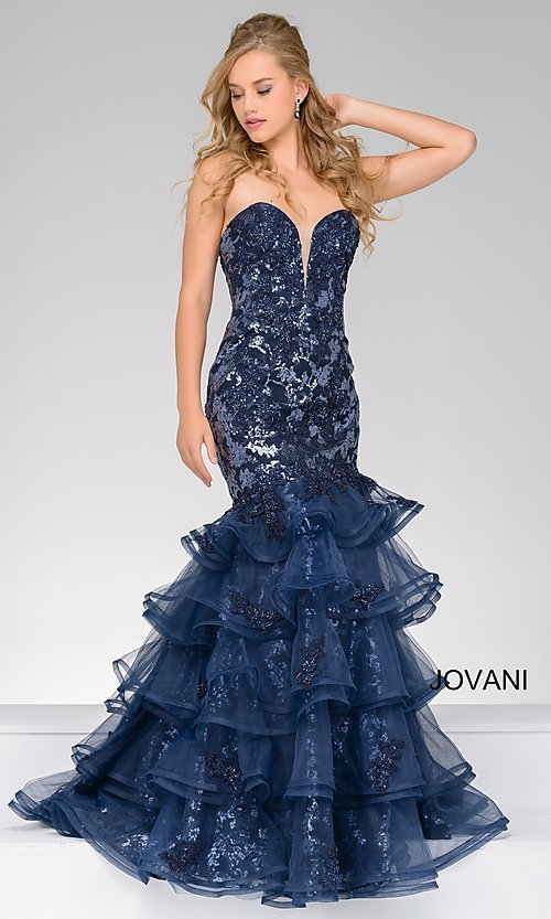 Navy Blue Sequined Mermaid Style Prom Dress