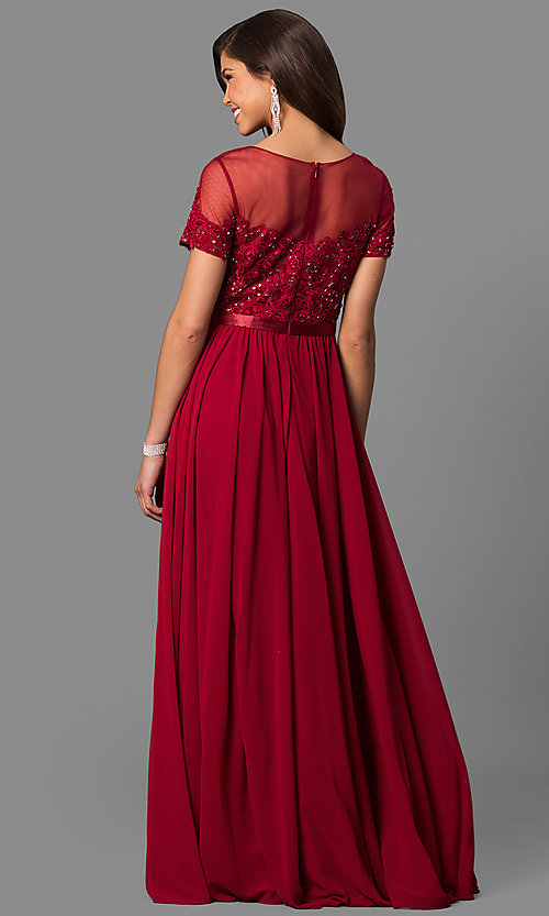Image of long prom dress with short-sleeve illusion bodice. Style: DQ-9710 Back Image