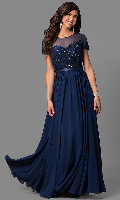 Image of long prom dress with short-sleeve illusion bodice. Style: DQ-9710 Front Image