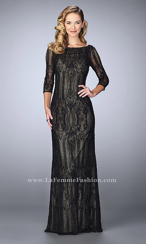 Long Sleeved Prom Dress by La Femme with Bead Accents