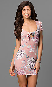 Image of scoop-neck floral-print mini party dress. Style: BLU-BD8427-1 Front Image
